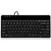 Perixx PERIBOARD-409P Mini Keyboard - PS2 Interface - 12.40x5.79x0.79 Inch Dimension - Piano Finish Black - US English