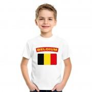 Bellatio Decorations T-shirt Belgische vlag wit kinderen L (146-152) - Feestshirts