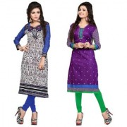 Nakoda Creation Pack of 2 Women's Cotton Unstitched Multicolor Printed Kurti Fabric (Fabric only for Top)