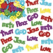 Baker Ross Religious Stickers - 150 Glitter Stickers with inspirational messages including Love, Hope, Peace and Jesus. Foam glitter stickers size 40mm.
