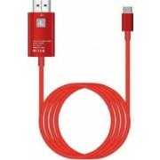 Cablu USB 3.1 Type C la HDMI 4K - Adaptor HUB de tip C pentru video HDMI 2 m pentru dispozitivele cu mufa Tip C Rosu SHO668