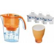 Pachet Laica Cana de filtrare a apei Stream 2.3 L Portocaliu + 3 Filtre Bi-flux + Pahar de colectie