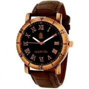 Golden Bell Men'S Brown & Black Round Genuine Leather Strap Wrist Watch (255Gb)