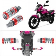 STAR SHINE Coil Spring Style Bike Foot Pegs / Foot Rest Set Of 2- Red For Hero MotoCorp HF Deluxe Eco