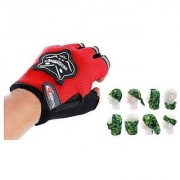 Combo Red Knighthood Half Gloves+Buff Headwear