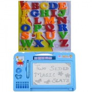 combo of Magnetic Learning Alphabet Capital Letters(big) with Double Side Magic Slate (multicolor)