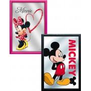 2 stk Inramad Spegel med Motiv 22x32 cm - Mickey / Minnie - Paketerbjudande
