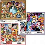 Disney Collage Collection 1500 Piece Jigsaw Puzzle Gift Set (3 Puzzles) 3402-1-2-3