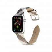 Geometric Pattern Genuine Leather Watch Replacement Band for Apple Watch Series 1/2/3 42mm / Series 4/5 44mm - Black/Grey