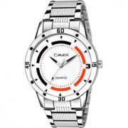 Crude Analog White Dial Watch With Stainless Steel Strap For Men's Boy's