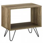 [en.casa]® Mesa de centro - Salón mesa auxiliar - Mesilla de noche - apariencia de madera - patas horquillas