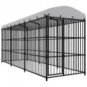vidaXL Външна клетка за кучета с покрив, 450x150x210 см