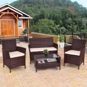 Giantex 4PCS Outdoor Patio PE Rattan Wicker Coffee Table Shelf Modern Garden Sofa Furniture Set With Cushion HW54898