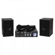 Set Karaoke Amplificator Port USB 2 Microfoane Incluse + 2 Boxe Bluetooth Card SD 2 x 50 W 2 Intrari Microfon Negru