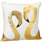 Geen Decoratie kussen met 2 flamingo's 45 x 45 cm Wit