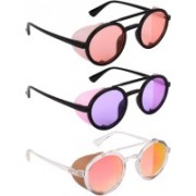 NuVew Round, Shield Sunglasses(Orange, Violet, Red, Golden)