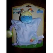 Doudou Marionnette Girafe Vache Gifi Diffusion Bleu Jaune Violet Grelot Carotte