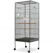 vidaXL Клетка за птици, стомана, черна, 54x54x146 cм