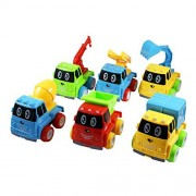 Construction Truck Toy Cars Set of 6 Friction Powered - Dump Truck, Cement Mixer, Excavator, Recycle, Tow & Ladder...