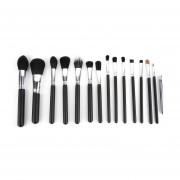 15 Pcs Silver+black Maquillaje Pincel Cosméticos Fundación Cejas Pinceles En Polvo Negro&plata