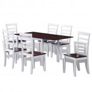 vidaXL Klaffbord med 6 stolar i solitt trä brun och vit