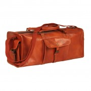 vidaXL Duffel Bag Real Leather Tan