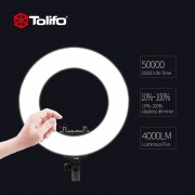 Tolifo R40B AC 40W Bi-color LED Photographic Lighting Dimmable Camera/Studio/Video Photography Ring Light Lamp - Lampa circulara Bicolora Led