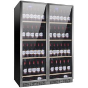 Vitrina de vinuri Nevada Concept NW300D-S, 300 sticle, doua zone, negru/inox