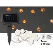 Solar-LED-Lichterkette mit 10 weissen Rosen, warmweiss, IP44, 1 m | Solar Lichterkette