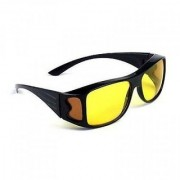 HD Wrap Real Club Night View Glasses Yellow Color Glasses Bike Car Driving Glasses Pack of 1 (AS PER SEEN ON TV)