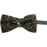 Leonardi Black Polyester Free Size Pre-Tied Rhinestone Bow Tie for Men