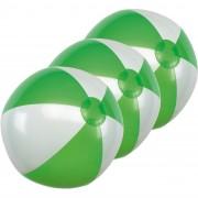 Merkloos 10x Opblaasbare strandballen groen/wit 28 cm speelgoed