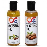 OSE (Combo Pack Of 2) 100 Percent Pure Organic Cold Pressed Unrefined Virgin Jojoba Oil Almond Oil For Hair-Scalp-Sk
