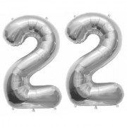 Stylewell Solid Silver Color 2 Digit Number (22) 3d Foil Balloon for Birthday Celebration Anniversary Parties