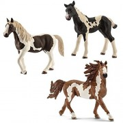 Schleich Toy Horses Figurine Set - Pinto Horse Family - Stallion Mare and Foal by SuePerior Living