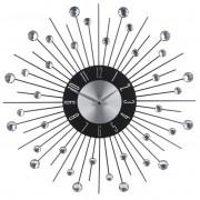 Zegar ścienny GLAMOUR czarny diamenty 44 cm