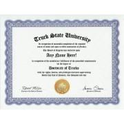 Truck Trucks Degree: Custom Gag Diploma Doctorate Certificate (Funny Customized Joke Gift Novelty Item)