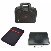 Techvik Combo Of 3 In 1 Laptop Bag Cooling pad And Laptop Sleeves