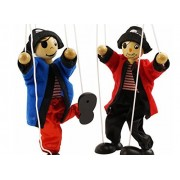 SPARIK ENJOY 2 Packs Clown Pirate Hand Marionette Puppet Children's Wooden Marionette Toys Colorful Marionette Puppet Doll Parent-Child Interactive Toys-Black and Red Pirate