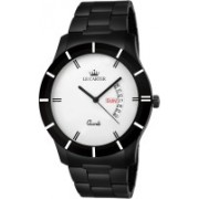 Le Carter LCW-7039 Day & Date Functioning Black Metal Chain Hybrid Watch - For Men
