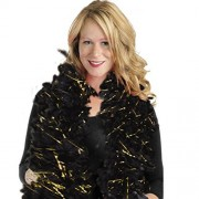 """Amscan Glamorous 20's Old Hollywood Themed Party Black and Gold Tinseltown Feather Boa Accessories, Feather, 72"""""""