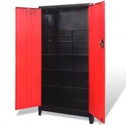 vidaXL Tool Cabinet with 2 Doors Steel 90x40x180 cm Black and Red