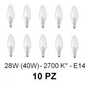 10 Lampada/Lampadina alogena a risparmio energetico 28W (40W) E14 Oliva Cilvani