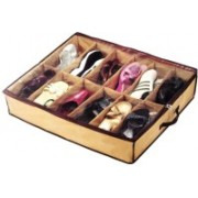 ZEVORA 12 Pairs Shoes Storage Bag Under Bed Storage Bag with Transparent Cover Organizer(Brown)
