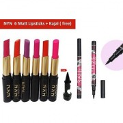 NYN Moisturzing MatteShine Rich Colour Lipstick (Pack of 6) + Free kajal with 36H Sketch pen eyeliner pencil