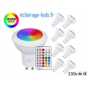 Lot de 8 ampoules LED GU10 Blanc Chaud & Couleurs 3W ref dm-22