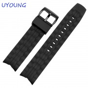 22mm Hot Sale Silicone Rubber Watchband Black Waterproof Watch accessories For Casio EF-550