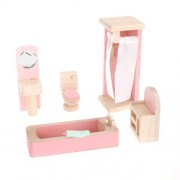 Dollhouse Furniture Wooden Toy Bathroom 5 Piece Set By Real Wood Toys
