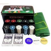Texas Hold'em Poker Game Set Gaming Mat 200 Chips 2 Decks Playing Cards Tin Box