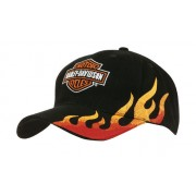 Headwear Professional Brushed Heavy Cotton With Flame Embroidery Cap Black/Gold 4226